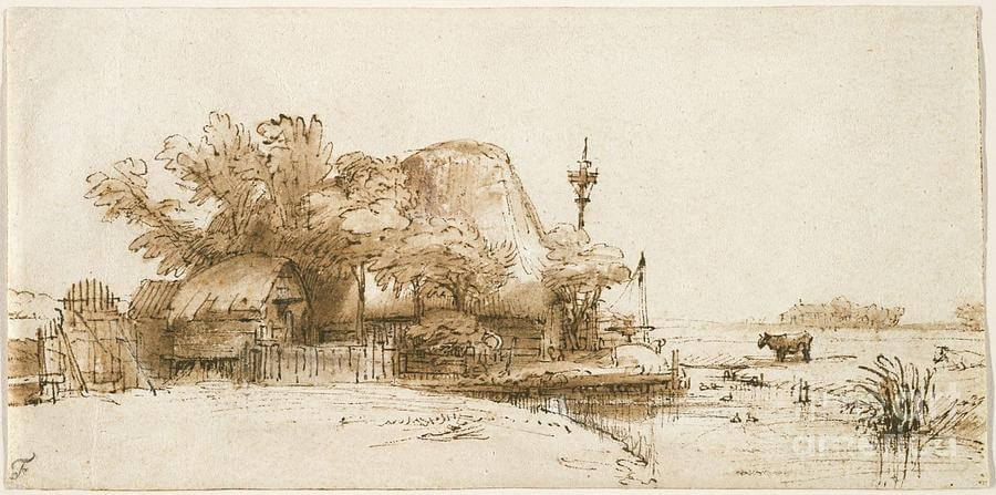 A Farm, by Rembrandt