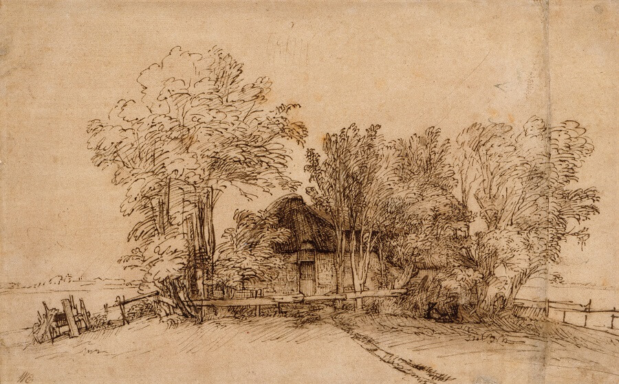 Cottage among Trees by Rembrandt
