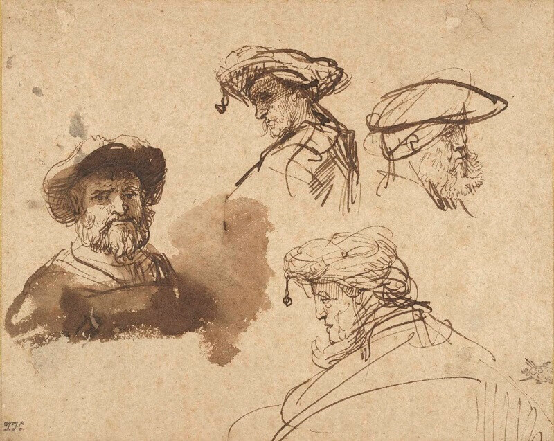 Four Studies of Male Heads, by Rembrandt