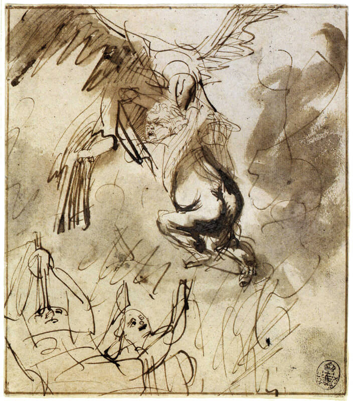Rape of Ganymede Drawing by Rembrandt