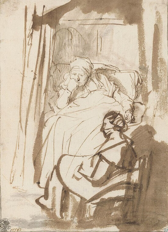 Saskia in Bed with a Nurse, 1635 by Rembrandt