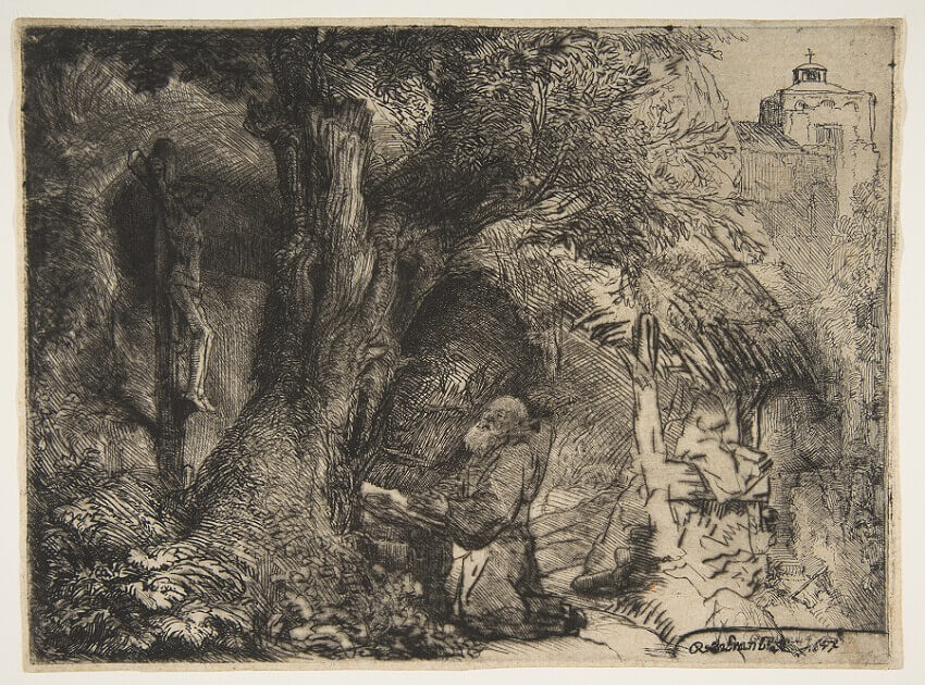 St Francis beneath a Tree Praying, 1657 by Rembrandt