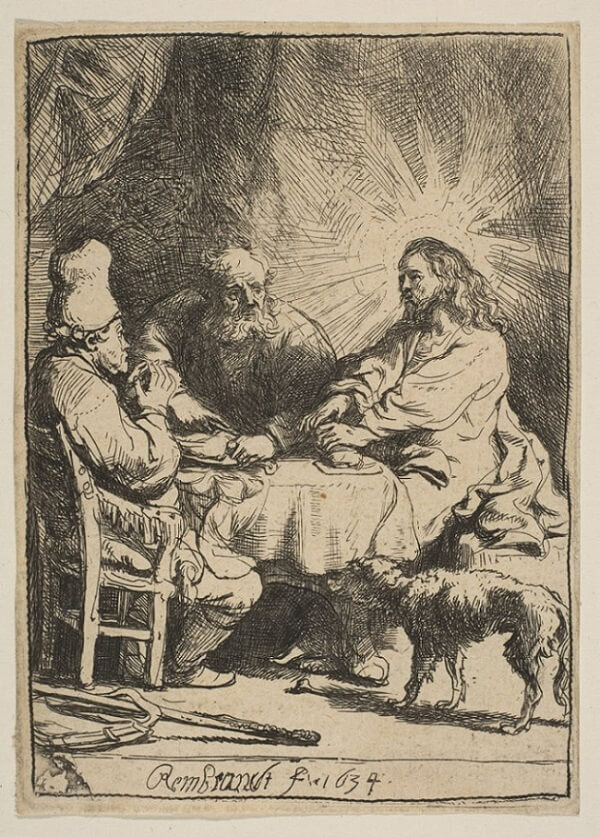 Supper at Emmaus Etching, 1634 by Rembrandt