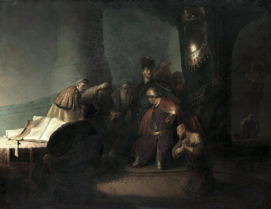 Judas Repentant, Returning the Thirty Pieces of Silver , 1629 by Rembrandt